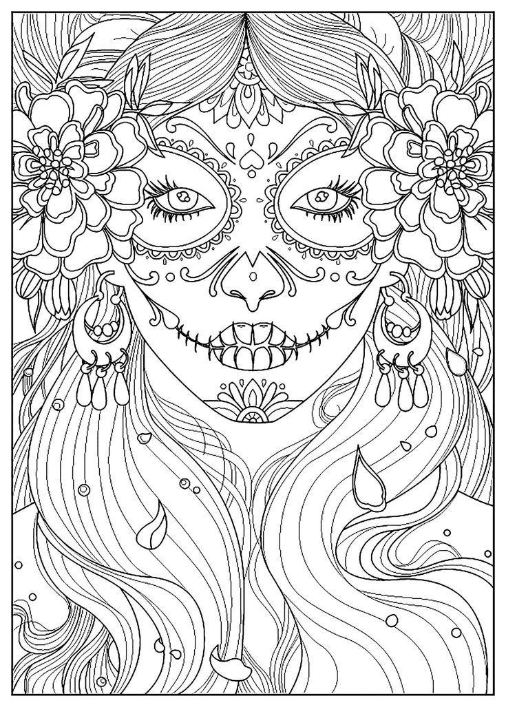Day Of Dead Woman Woman Tag Der Toten Frau Jour De La Morte Dia De La Mujer Muerta Day Of Dead Makeup Ausmalbilder Mandala Zum Ausdrucken Ausmalen