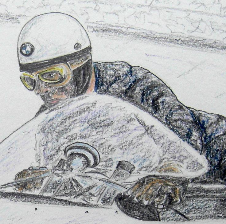 Helmut Fath Deatil 1960 Bmw R50 2 14x17 Graphite Color Pencil April 24 2015 Rennen