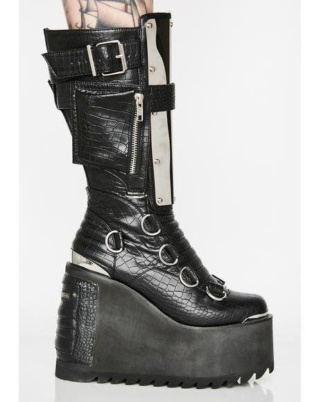 2d380ddd0ec Immortal Soul Platform Boots  dollskill  platform  boots  black  metal   burner. Demonia Swing 815 Buckle ...