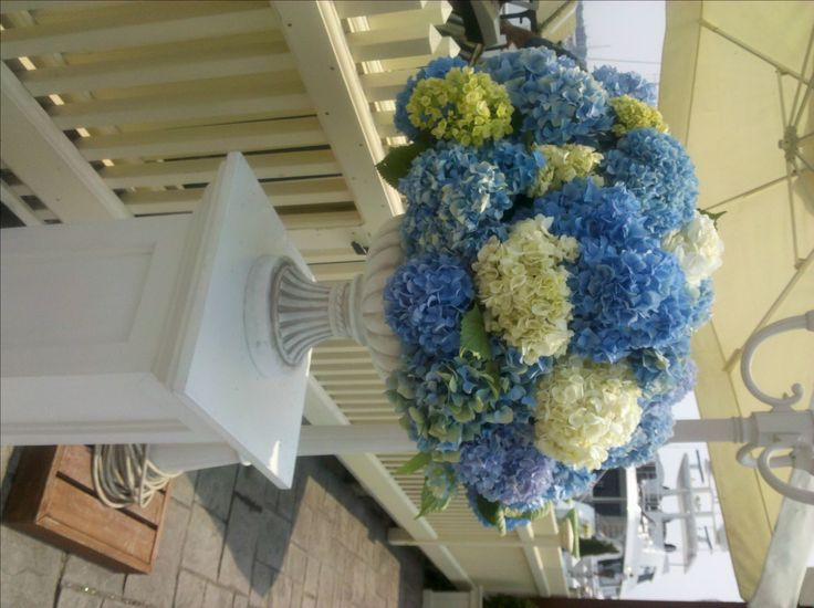 Beautiful blue Hydrangea  reception wedding flowers,  wedding decor, wedding flower centerpiece, wedding flower arrangement, add pic source on comment and we will update it. www.myfloweraffair.com can create this beautiful wedding flower look.