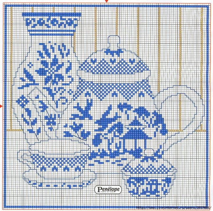 blue and white china cross stitch chart
