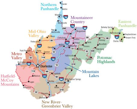 West Virginia Regions I'm from Clendenin, 20 miles north of Charleston.  Metro Valley area