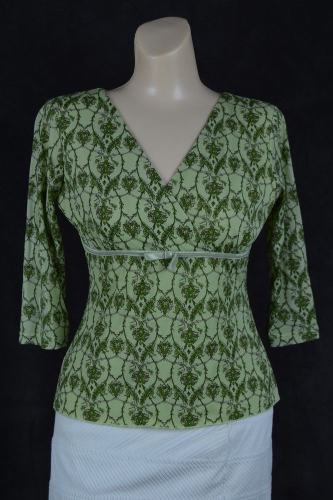 INC International Concepts Petite Small Green Nylon floral V-neck 3/4 sleeve #INCInternationalConcepts #Blouse