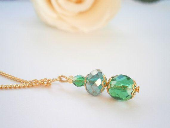 May Birthstone Necklace  Emerald tone Pendant  by GlamorousSparkle, €12.00