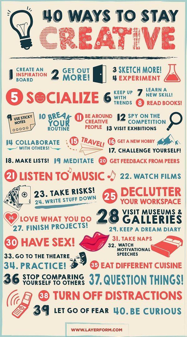 """Le blog de design Layerform Magazine basé à Londres vient de publier une infographie très intéressante intitulée """"40 moyens pour rester créatifs"""". Différentes"""