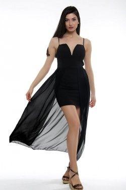 Φόρεμα ασύμμετρο με λεπτομέρεια στο στήθος