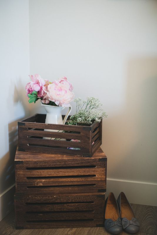 rustic home decor peonies and box crates
