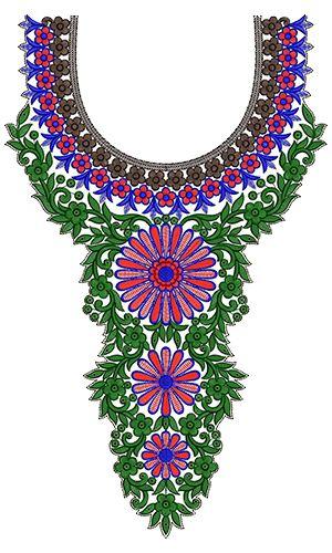 10009 Neck Embroidery Design