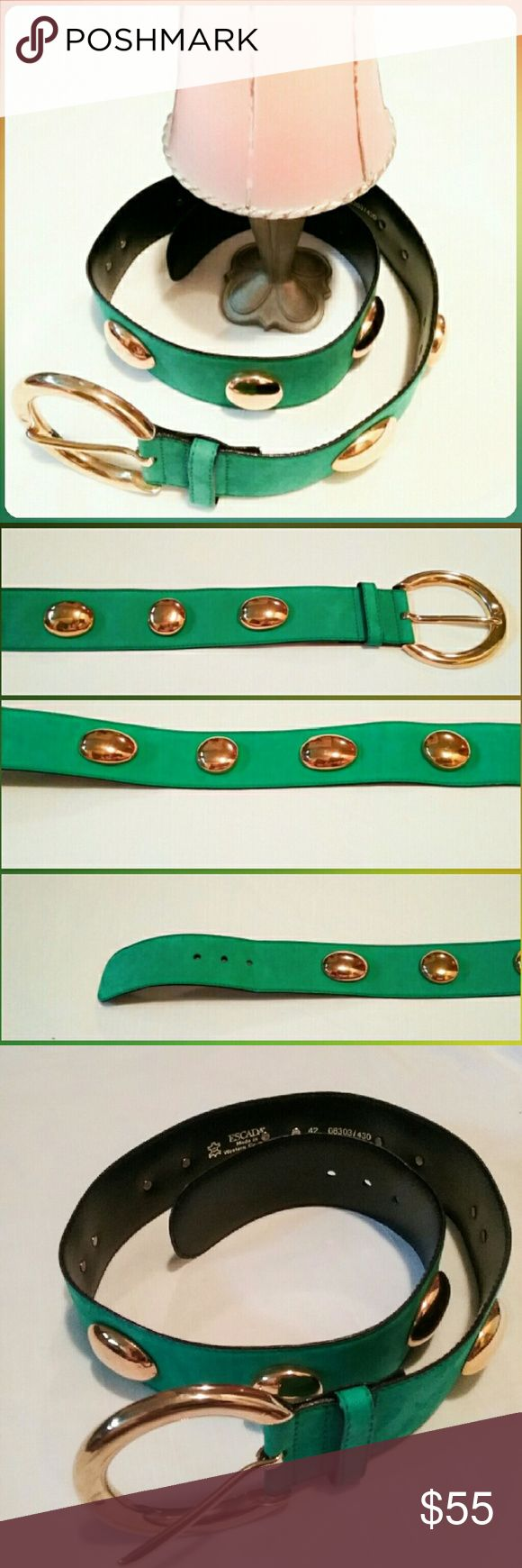"Vintage Escada Teal Belt with Gold Cabochons This gorgeous vintage Escada belt, circa 1980's, has maintained its glory.  It's in excellent condition.  It measures 36 1/2"" long with the buckle adding another 2 1/2"". The buckle is 3 1/4"" wide, while the belt's with is 2"".  It is 31"" to the first hole & 32 1/2 to the last. The size is 42 (EU) equivalent to US size 10. Escada Accessories Belts"