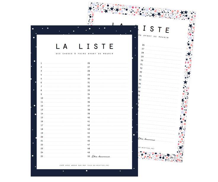 La liste des choses à faire avant de mourir à imprimer - Vie de ...