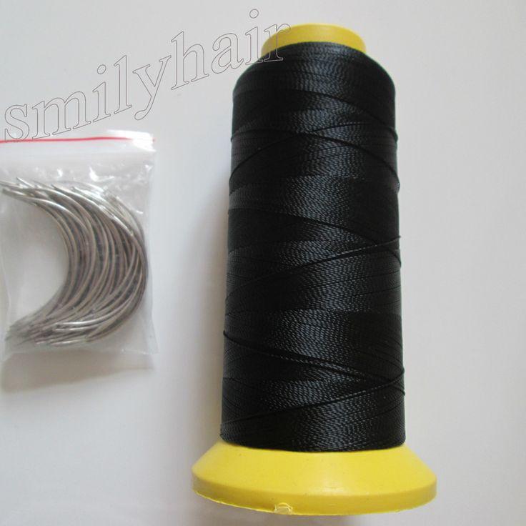 送料無料50ピース6.5センチ長さcタイプ織り針湾曲した針と1ロールスプールのナイロン織りスレッド用ヘア横糸