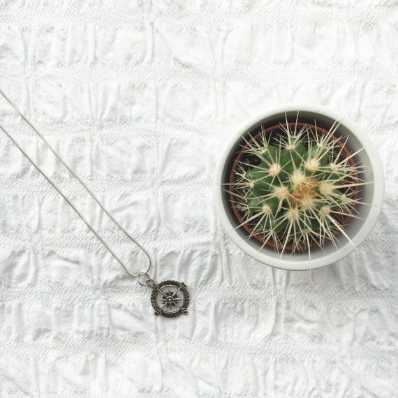 Silver Compass necklace charm pendant sterling by JunkboxCouture