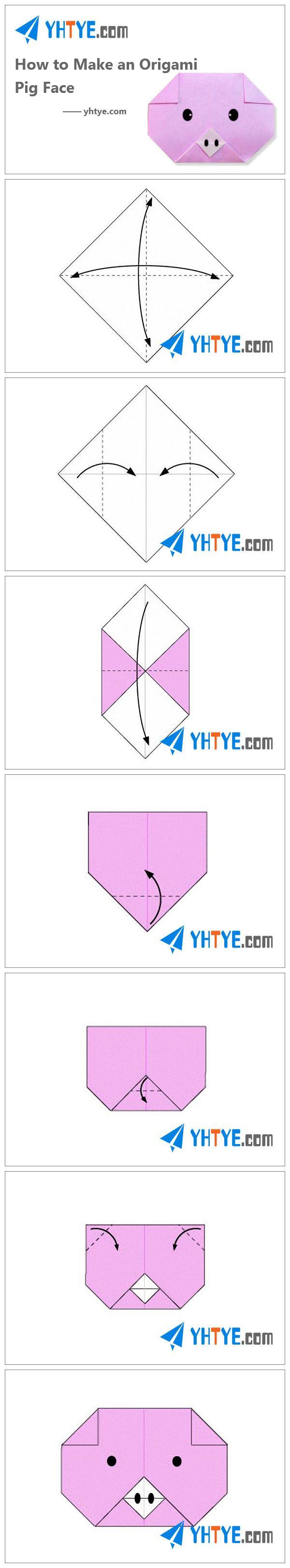 Pes 25 nejlepch npad na tma papper pig na pinterestu how to make an origami pig face pooptronica