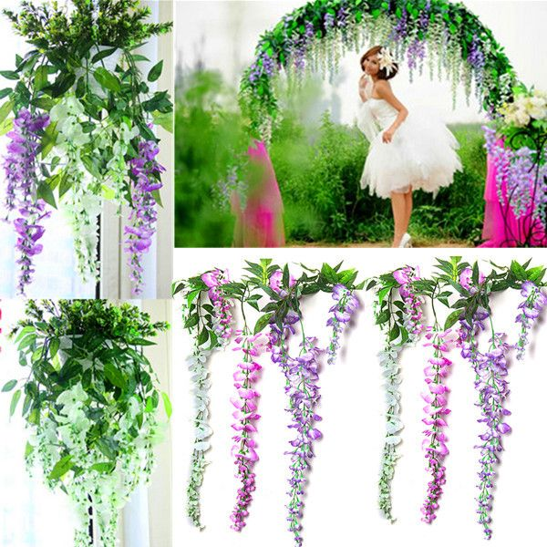Wholesale-Hot Sale Silk Wisteria Flowers Vine Home Hotel Decor Hanging Artificial Plant Garland Wedding Party Online with $26.02/Piece on Lifegreen's Store | DHgate.com