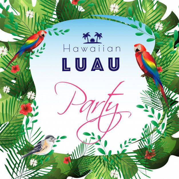 Tropical leaves decorated party template Premium Vector in