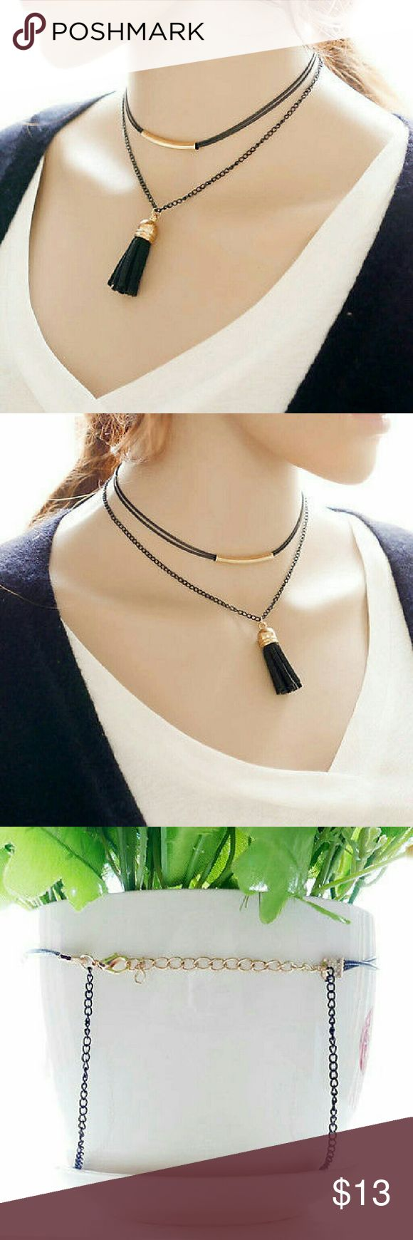 "Black Velvet Choker Necklace with Tassel Brand new with tags Length: Short choker 15"" Long choker 17"" Metal: alloy ( lead and nickel free ) Material: velvet Randomfindsboutique Jewelry Necklaces"