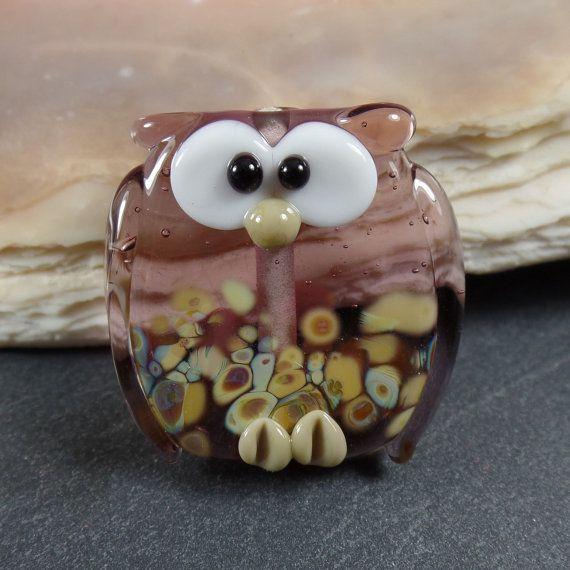 Lampwork kraal uil paars, handgemaakte ambachtelijke glassbead, sieraden benodigdheden, 23mm, dubbelzijdig
