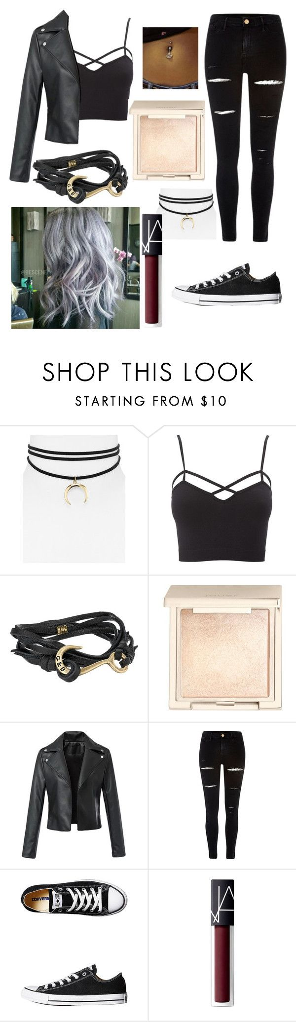 """Outfit #41"" by unicornicamitha on Polyvore featuring Jules Smith, Charlotte Russe, Giles & Brother, Jouer, River Island, Converse, NARS Cosmetics and plus size clothing"