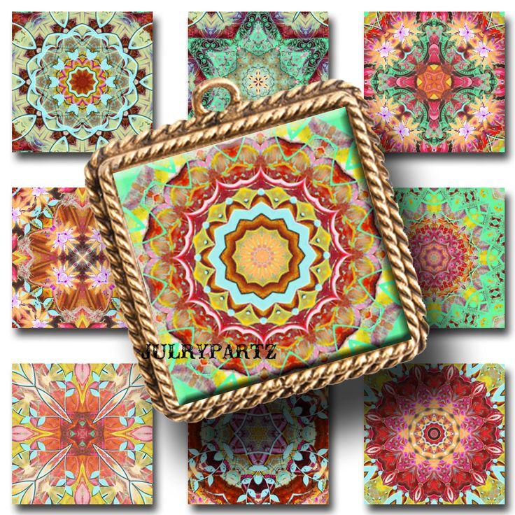 FIESTA DEL SOL, 1x1 Square,Printable Digital Image,Healing Mandalas,Magnets,Gift Tags,Scrabble Tiles,Yoga, Meditation by JulryPartZ on Etsy