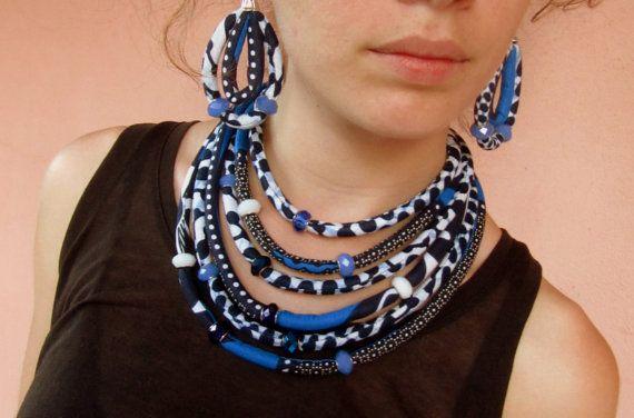 Royal blu collana - gioielli dichiarazione di Ankara / collana bavaglino / African jewelrySet