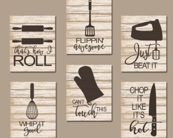KITCHEN QUOTE Wall Art- Funny Utensil Pictures- CANVAS or Prints Just Beat It- How I Roll- Dinning Room Artwork- Set of 6 Choose Your Colors