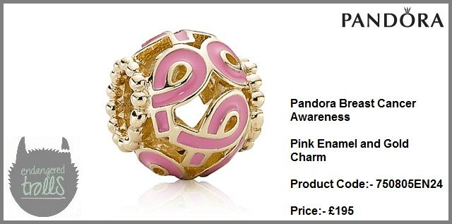 Pandora Breast Cancer Awareness Pink Enamel Charm (Gold)