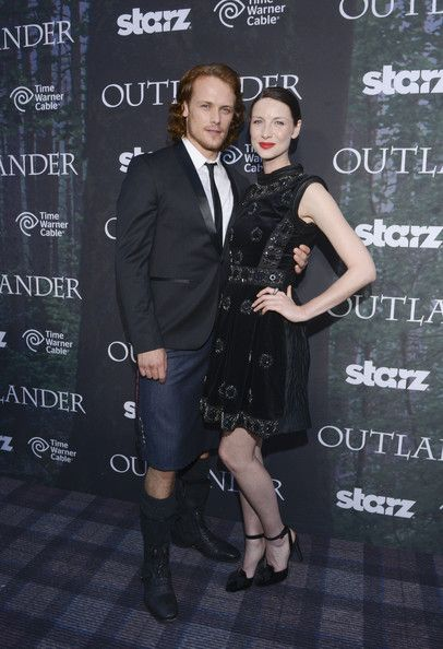 """Actor Sam Heughan and actress Caitriona Balfe attend the Starz Series """"Outlander"""" Premiere - Comic-Con International 2014 at Spreckels Theatre on July 25, ..."""