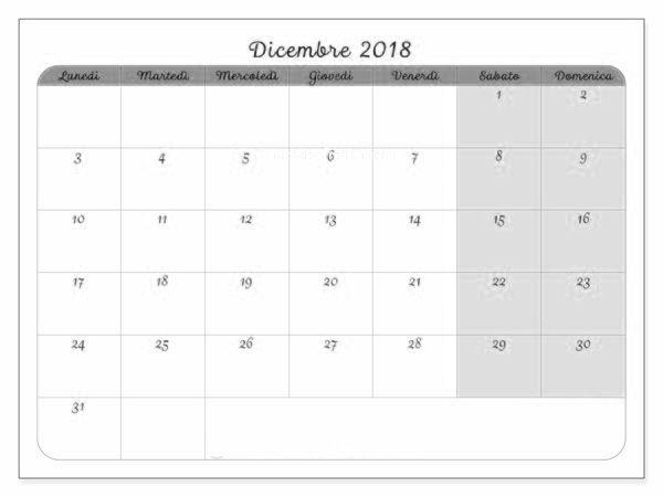 Calendario Dicembre 2019 Excel.Dicembre Calendario 2018 Dicembre Calendario 2018