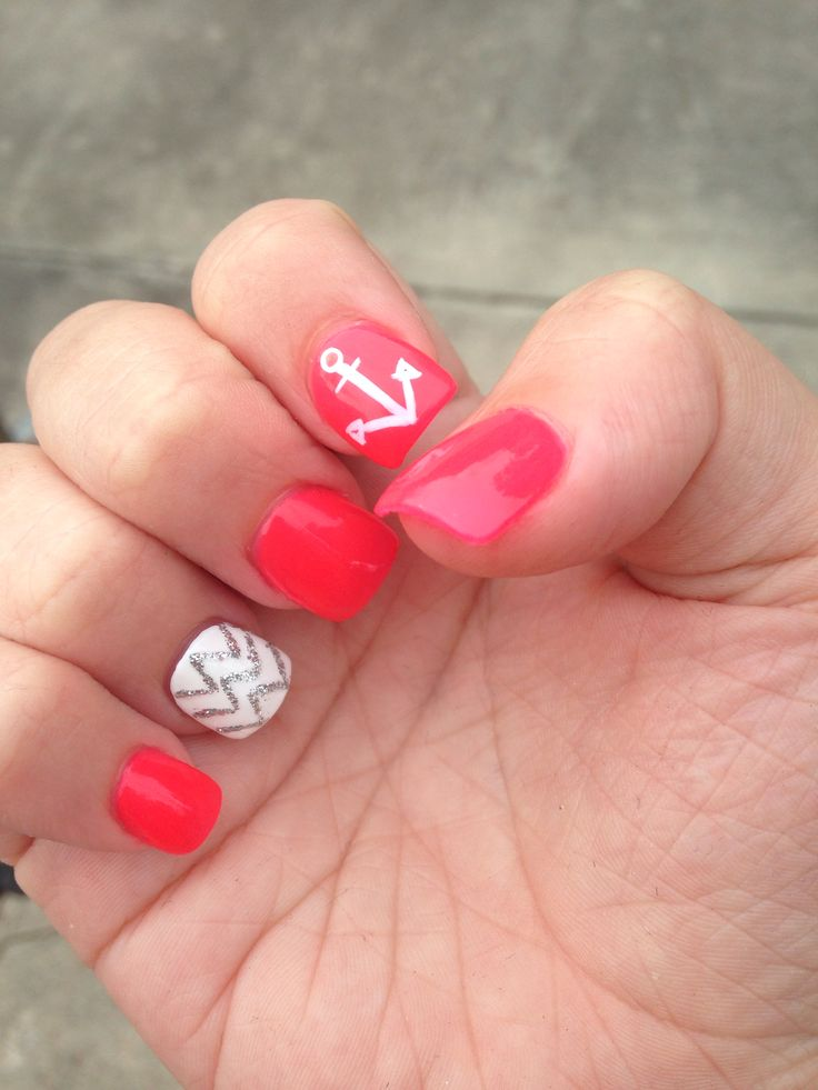 Acrylic nails - pink with white and silver chevron and an anchor!