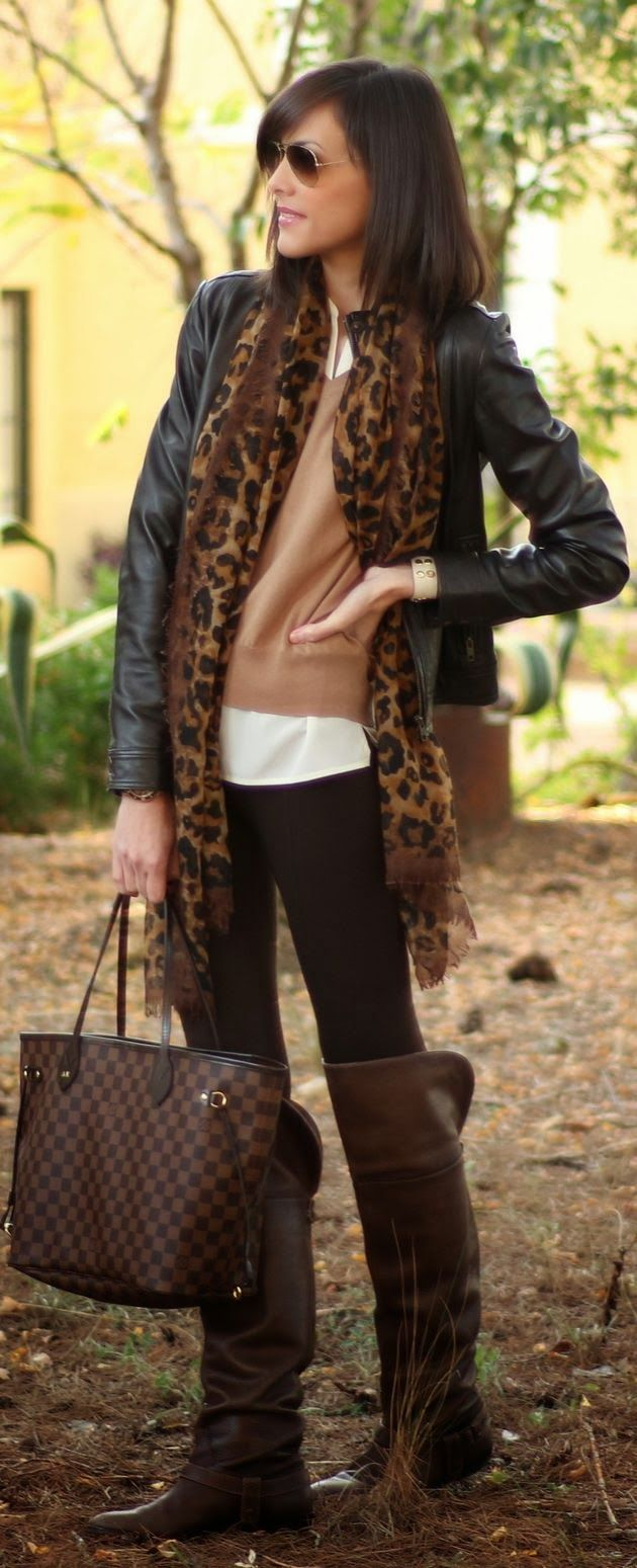 Leather Jacket With Leopard Scarf And Long Boots