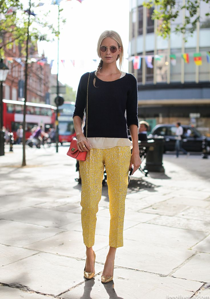 yellow pants gold shoes