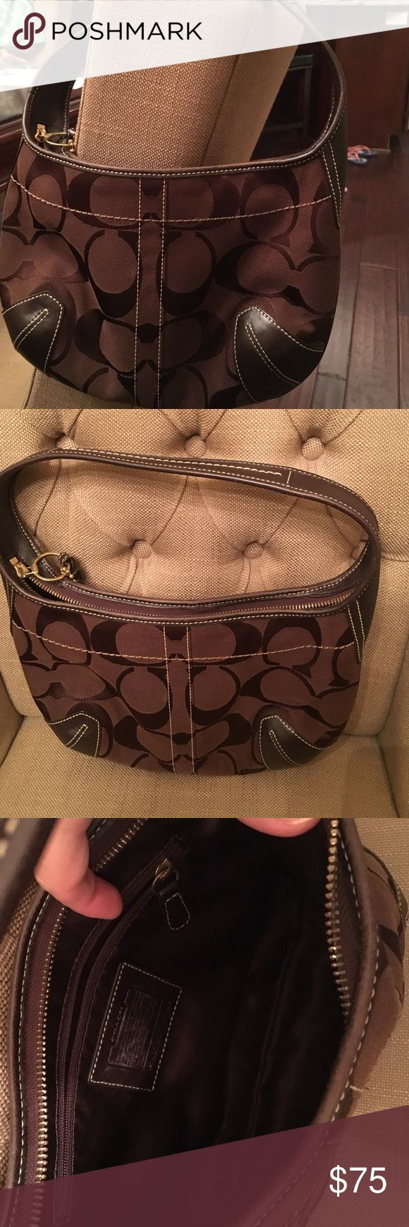 Coach Brown Hobo Purse Excellent condition!!! Used once. Small brown Coach Hobo purse. No rips, tears, or marks. Coach Bags Shoulder Bags