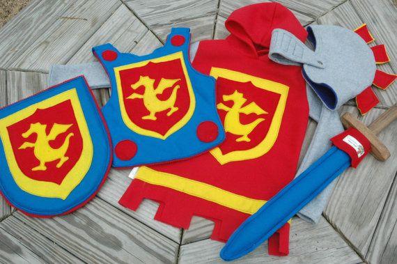 Knight Costume Gift Set - PRIMARY Colors - Super Cape - Super Hero Costume - Halloween Costume - Halloween Costume - Kid Costume via Etsy