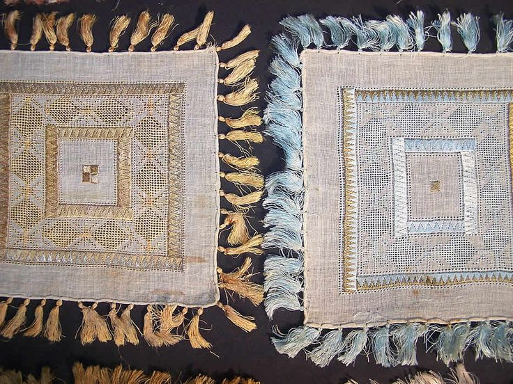 10 Ottoman Turkish Embroidery Linen Square Sampler Doily Close up.