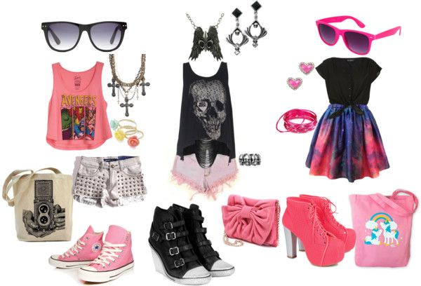 """""""Summer Pastel Goth"""" by viivakissa ❤ liked on Polyvore"""