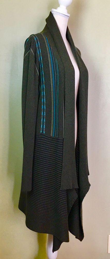 37de99d2f6 Peruvian Connection Sweater Womens XL Open Front Cardigan Grey Multi ...