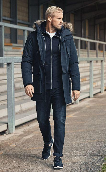 Kasper Schmeichel for JACK & JONES TECH – #GoForGreat technical parka, zip sweat, comfort fit jeans, blue lightweight trainers
