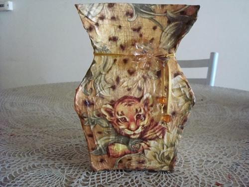 PAP de Vaso feito com Caixa de Leite - Artesanato Reciclagem.