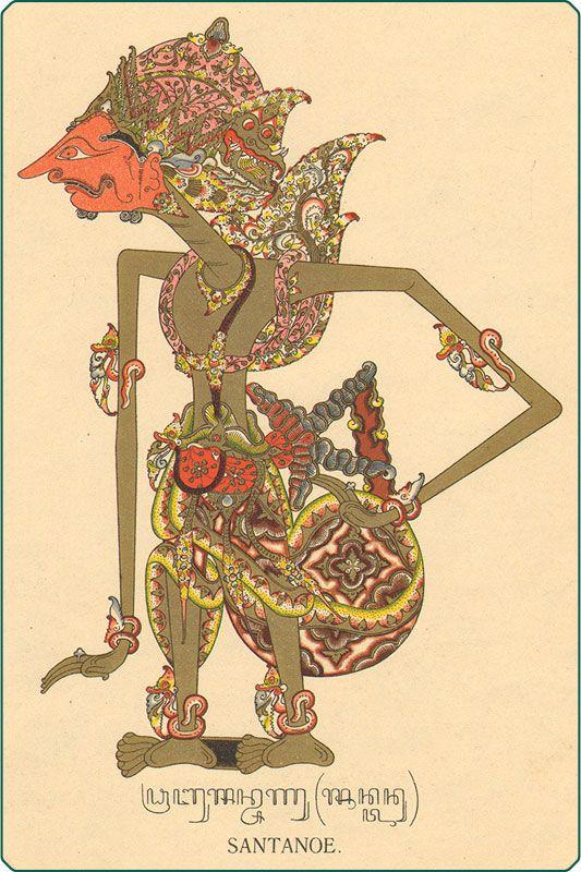 Shantanu - a Kuru King of Hastinapura - Javanese leather puppet