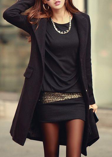 Round Neck Long Sleeve Black Cotton Short Dress