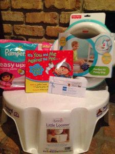 """Enter to #WIN Pampers Easy ups Prize Pack that includes: A pack of Pampers Easy Ups, The Little Looster Step Stool, A Potty Ring,""""It's You and Me against the Pee… and Poop too!"""" book, &  $50 AMEX gift card"""