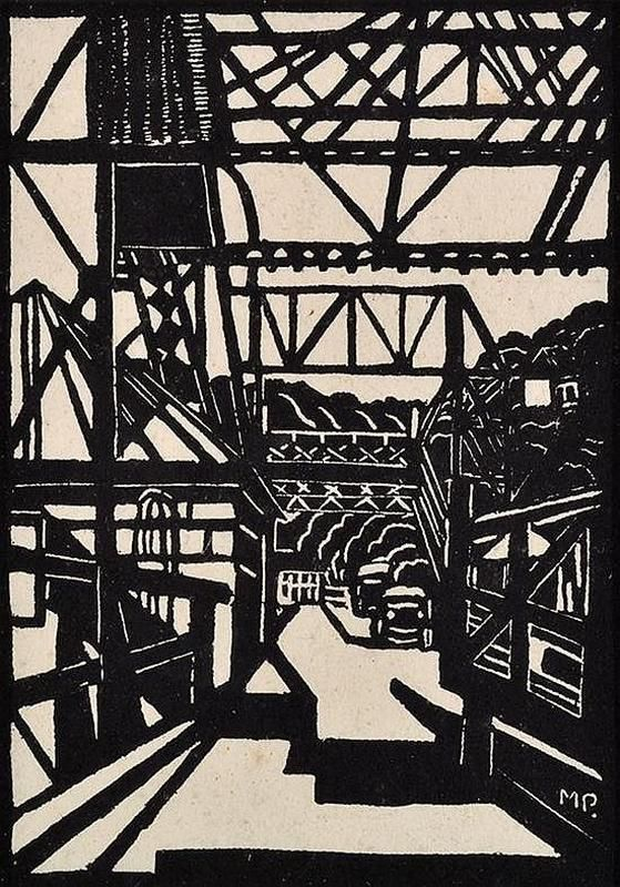 Margaret Preston, Australia, The Spit Bridge 1929, Print, book plate 140/250, 16.5 x 12 cm