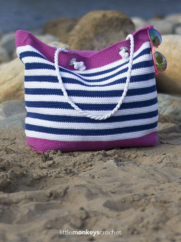 Classic Beach Bag Crochet Pattern | Little Monkeys Crochet