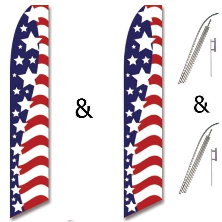 2 Swooper Flag Pole Kits USA America American Stars Stripes #EHTFlags