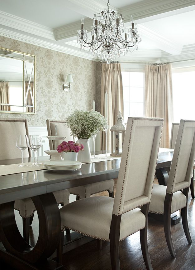 The Elegant Abode LI Dining Room Glam dining room, crystal chandelier, walnut dining table, upholstered dining chairs, nailheads, silk drapery, damask wallpaper, coffered ceiling.
