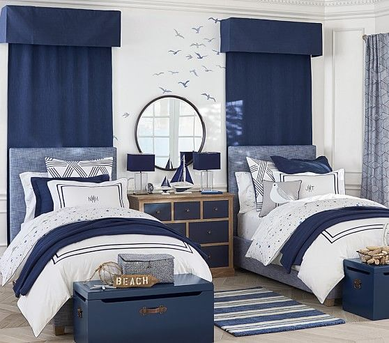 Monique Lhuillier Upholstered Square Bed & Headboard | Pottery Barn Kids