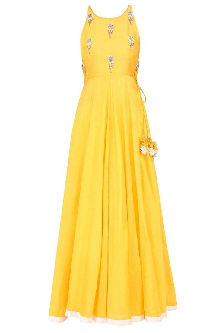 Canary yellow floral embroidered motifs anarkali set available only at Pernia's…