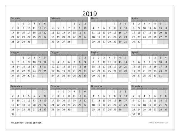 Calendario Annuale Da Stampare 2019.Calendario 2019 35ld Calendario2019 Calendario