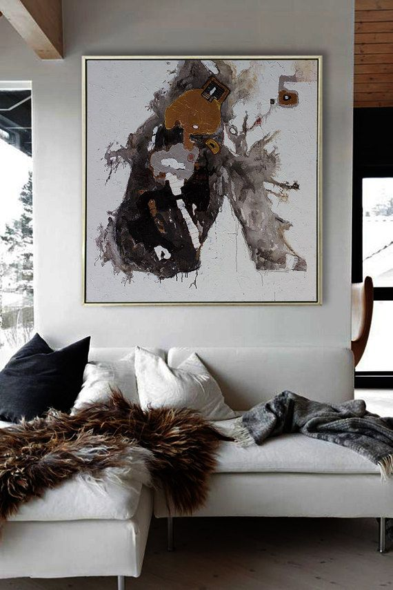 Oil Painting Hand Painted Extra Large Contemporary Abstract Canvas Art Original Work Black And White Living Room Wall