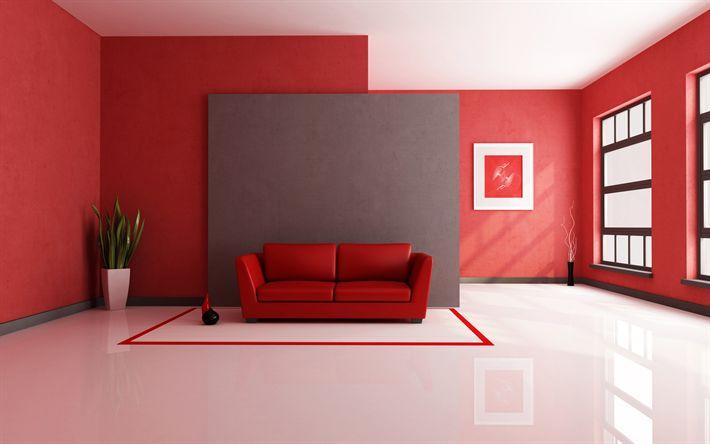 Scarica sfondi design moderno, corridoio, sala rossa, appartamento, moderno, idea interiore